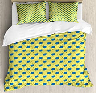 VROSELV-HOME Yellow Polka Dot Duvet Cover Set Queen Size,Cute Continuing Pattern of Paintbrush Strokes,Print 3Pc Bedding Cover Set for Mother Girl Friends,Pastel Yellow Cobalt Blue Charcoal Grey
