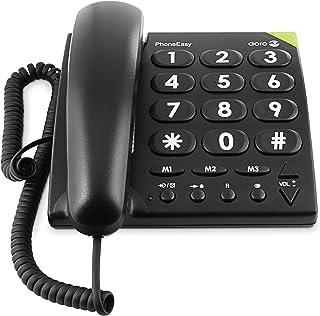 Doro 380001 PhoneEasy 311c sladdbunden stor knapptelefon med optisk samtalssignal svart