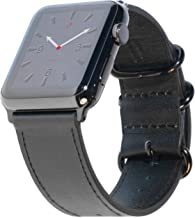 Carterjett XL/XXL Compatible with Apple Watch Band 42mm 44mm Black Genuine Leather iWatch Band Replacement Strap Extra Long NATO for X- Large Wrists Fits New Series 4 3 2 1 (42 44 XL/XXL Black)