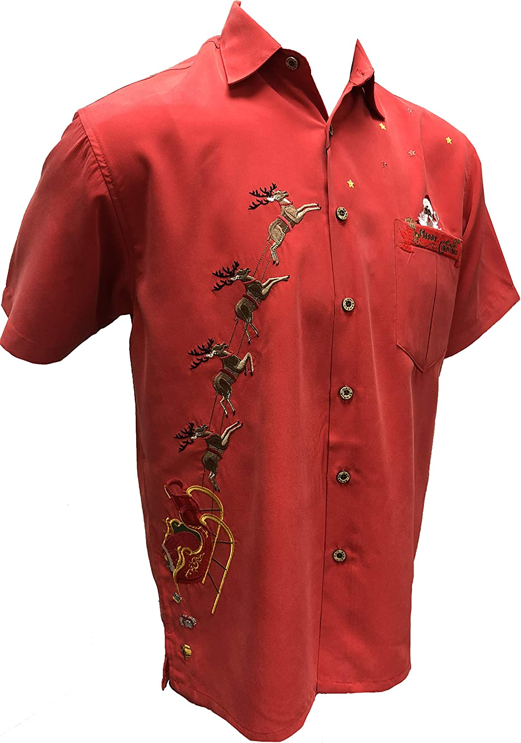 Many popular brands Bamboo Cay Men's Our shop most popular Embroidered Peekaboo Santa Button Christma Down