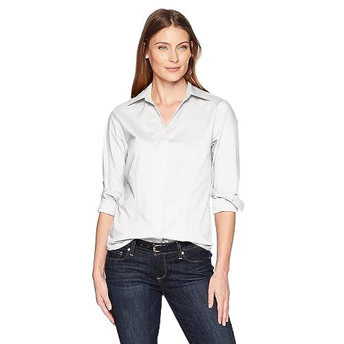 4a0307399a10e2 Riders by Lee Indigo Women s Long Sleeve Button Front Easy Care Woven Shirt