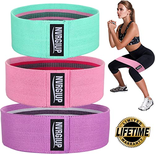 NVRGIUP Exercise Resistance Bands for Legs and Butt, Upgrade Thicken Anti-Slip & Roll Home Gym Workout Booty Bands, W...