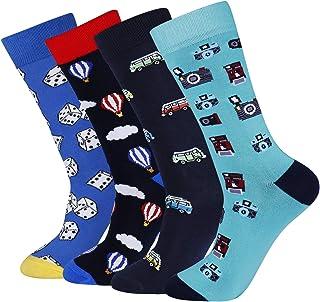 Men`s Fun Funky Casual Colorful Animal Pattern Long Dress Crew Socks