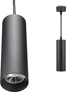 POPP®Downlight suspendido LED Lámpara Colgante techo interior moderno 20W blanco y negro chip COB IP20 1450 lumenes Cálida 2700K Neutra 4500K (4500K, Negro)