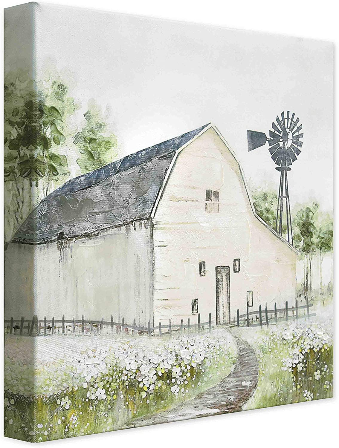 3D Hand-Painted Original Contemporary Oil Painting with Farm House and Windmill On Canvas, Knife Painted Spring Countryside Landscape Wall Art for Home Décor, Framed and Ready to Hang 14x14 Inches