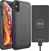 iPhone XS/X Battery Case, 4200mAh Slim Portable Protective Extended Charger Cover with Qi Wireless Charging Compatible with iPhone X & XS (5.8 inch) BXX & 10W Qi Wireless Charger Pad CX101 - (Black)