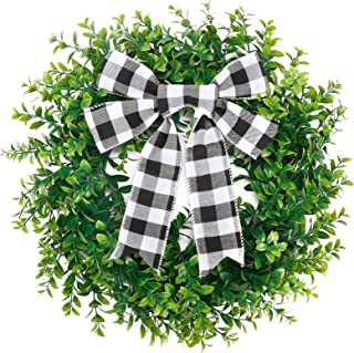 CEWOR 15 Inches Artificial Boxwood Wreath Faux Green Leaves Greenery Wreath with A Plaid Bow for Front Door Wall Window De...
