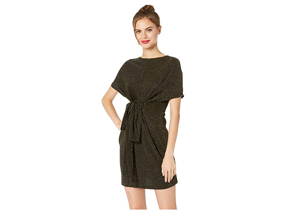 J.O.A. Tie Wrap Front Mini Dress (Black/Gold) Women