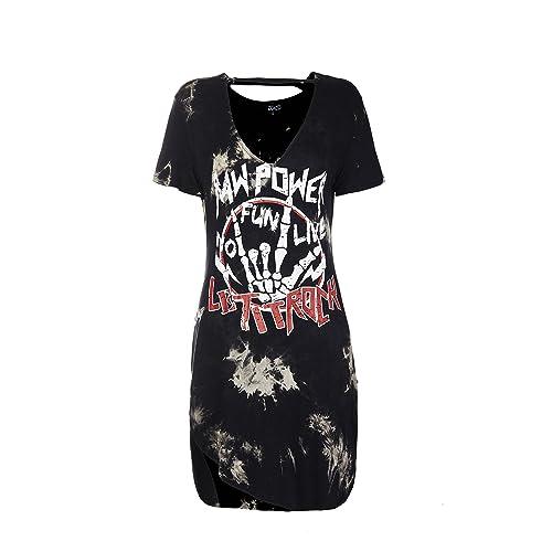 0275e19b8a93 ZG&DD Womens Deep V Neck Lace Up Front Short Sleeve Casual Loose Print  Tshirt Dress
