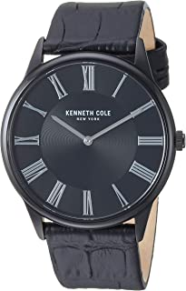 Kenneth Cole New York Men's Classic Stainless Steel Japanese-Quartz Watch with Leather Strap, Black, 22 (Model: KC50915003)