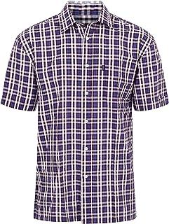 Walker and Hawkes - Camisa de Manga Corta para Hombre - 100% algodón - Estilo leñador - Estampado a Cuadros