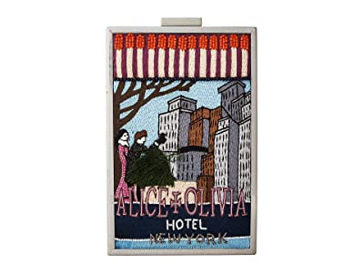 Alice + Olivia Sophia Matchbox Hotel New York North/South Clutch (Multi) Clutch Handbags