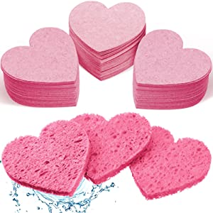 90 Pieces Heart Shaped Compressed Facial Sponge, Face Cleansing Sponge, Reusable Cosmetic Makeup Remover Sponge for Facial Deep Cleansing Exfoliation Makeup Removal (Pink)