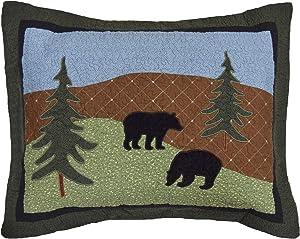 Donna Sharp Pillow Sham - Bear Lake Lodge Decorative Pillow Cover with Bear Pattern - Standard