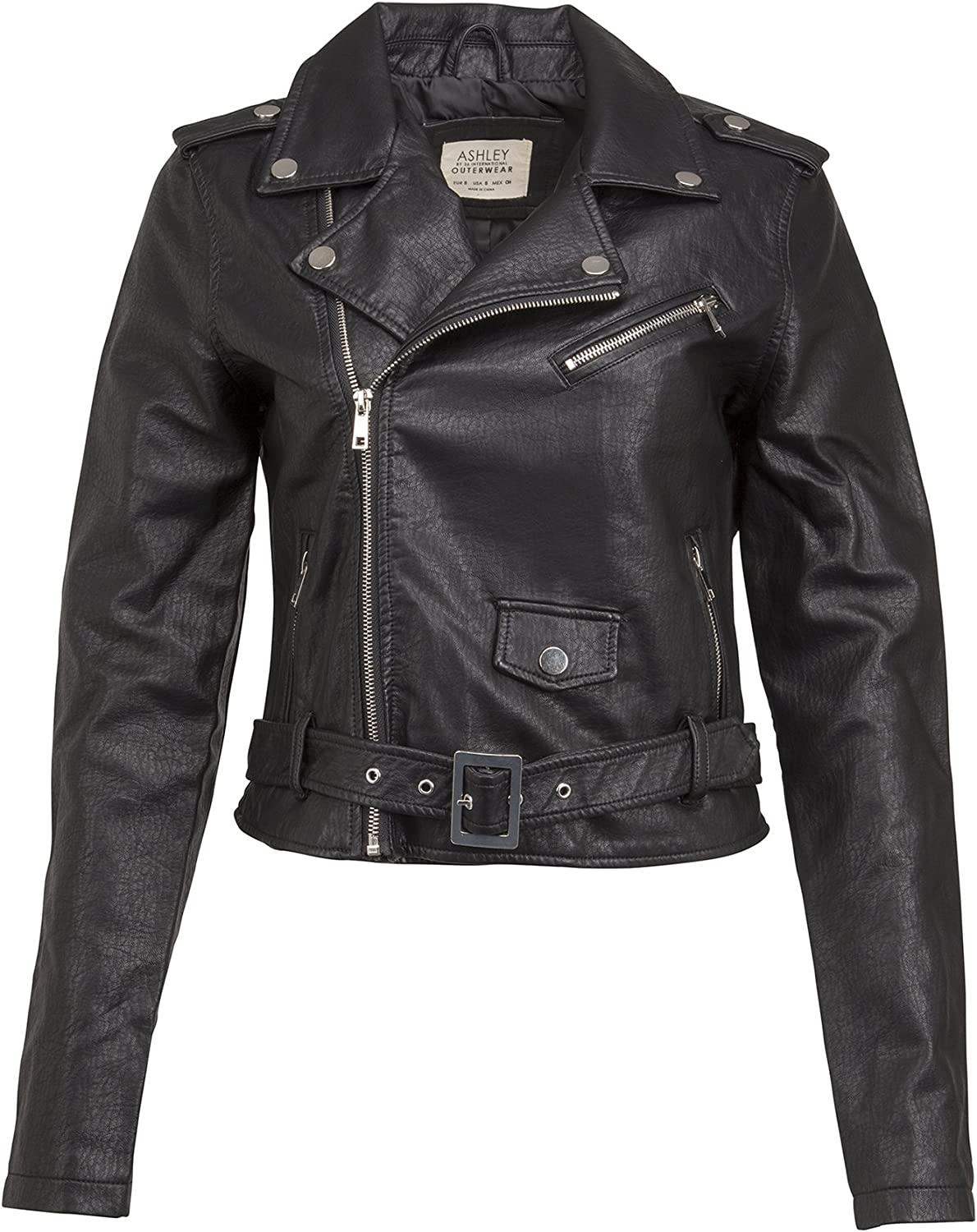 Glam and Gloria Womens Black Belted Faux Leather Biker Moto Jacket