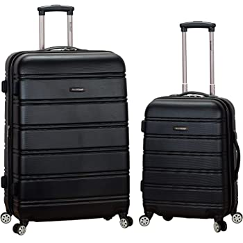 Rockland Melbourne Hardside Expandable Spinner Wheel Luggage, Black, 2-Piece Set (20/28)
