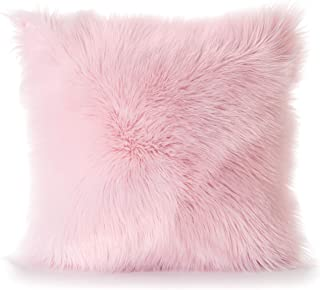 Rina Softness Fur Throw Pillow Covers (18 x 18) Luxury Home Decor for Bedroom, Sofa, Living Room | Cute, Pink, Ultra Soft Cushion Sham | Zippered, Removable