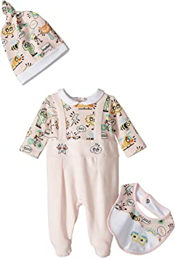 Fendi Kids - Logo Graphic Footie, Hat & Bib Gift Set (Infant)
