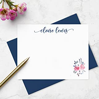 Note Cards and Envelope Boxed Set of Stationery - Personalized Design with Blue and Pink Watercolor Floral and Custom Name