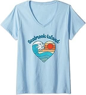 Womens Seabrook Island Beach Lover Retro Heart Surf & Wave Graphic V-Neck T-Shirt