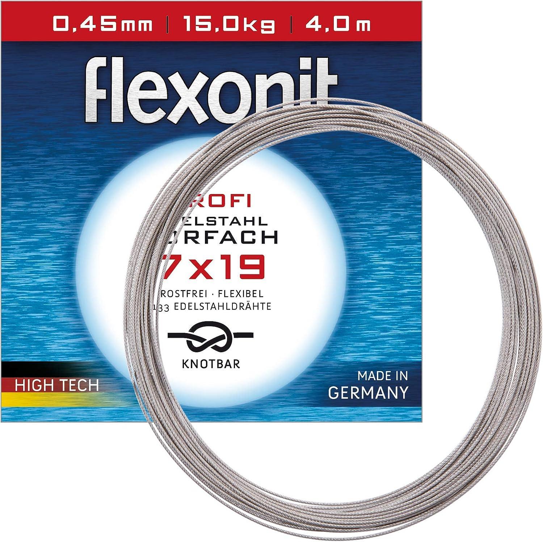 Flexonit Stahlvorfach Meterware - 7x19 Silber 0,60mm 27,0kg 20m