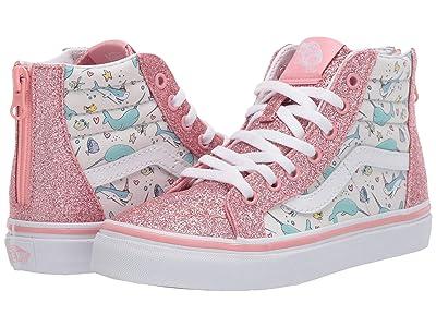 Vans Kids Sk8-Hi Zip (Little Kid) ((Shark Party) Pink Icing/True White) Girls Shoes