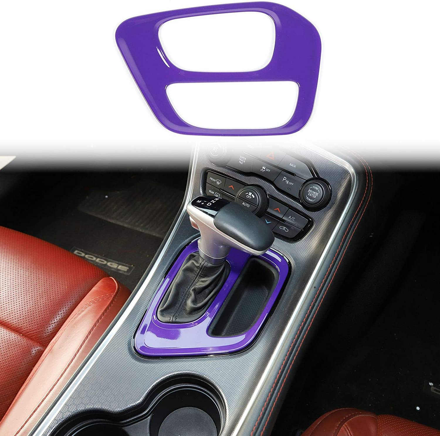 Voodonala for Challenger Gear Shift Covers Trim for 2015-2020 Dodge Challenger ABS Pink 1pc