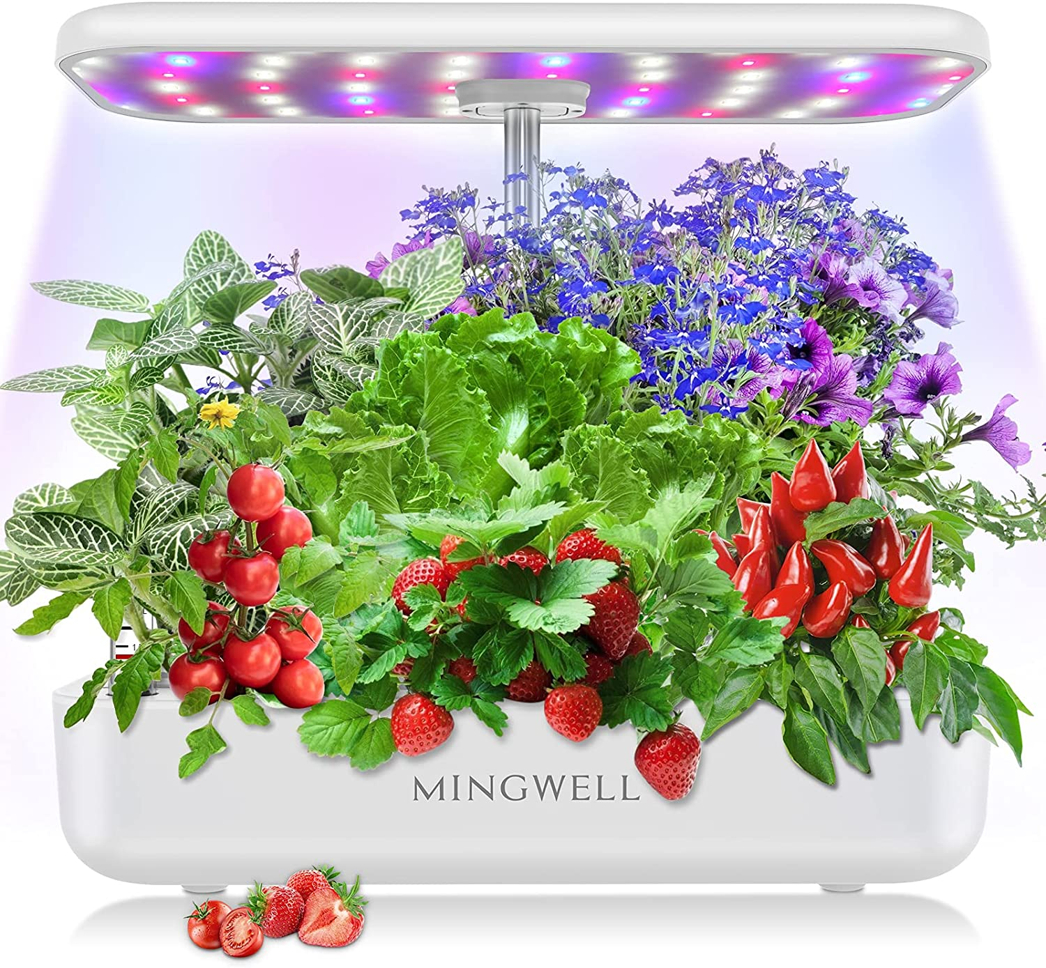 Hydroponics Growing System, 12 Pods Harvest Indoor Growing System Garden with LED Grow Light, Smart Garden Growing Kit for Home Kitchen, Automatic Timer Germination Tray, Adjustable Led Lights (White)
