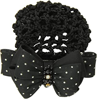 Caravan Tied Beads And Rhinestone Decorates Poka Doted Fabric Bow Barrette And Matching Snood, color may vary