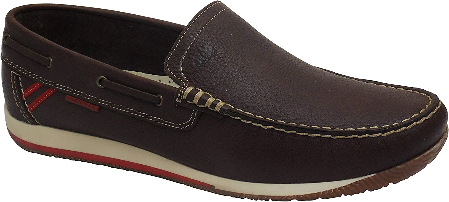 Aerata Juno by greyport Quality Lightweight Leather Deck shoes Brown
