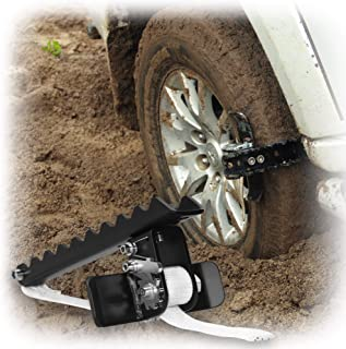 EZUNSTUCK Car Tire Anti-Skid Tool - RWD/AWD/4x4 SUV, Trucks, Pickup - EZ-S02LX Ultimate Get Unstuck Solution for Mud, Sand, Snow, Off-Road - Better Than Traction Mat, Recovery Tow Strap - Large/Single