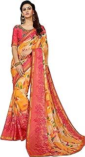 Sutram Orange Georgette Printed Saree with Blouse