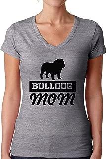 Women's Bulldog Mom V-Neck T Shirts for Women English Bulldog Mom V-Neck T Shirts for Women