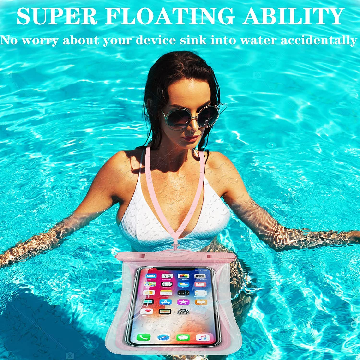 Waterproof Cell Phone Pouch, Floating Waterproof Phone Case IPX8 Underwater Dry Bag with Lanyard for iPhone 12/12 Pro Max/11/11 Pro/SE/XS/XR/8 Galaxy up to 7.87