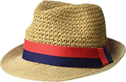 Paper Crochet & Jute Short Brim Fedora with Two-Tone Band