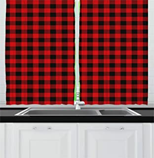 Ambesonne Plaid Kitchen Curtains, Lumberjack Fashion Buffalo Style Checks Pattern Retro Style with Grid Composition, Window Drapes 2 Panel Set for Kitchen Cafe Decor, 55