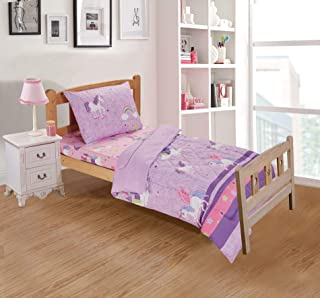 Better Home Style Purple Pink Unicorn Printed Fun Design 3 Piece Comforter Bedding Set with Stars and Rainbows for Girls/Kids/Toddler Bed in a Bag with Fitted Sheet # Unicorn Castle Lavender (Toddler