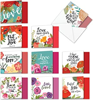10 Perfect Love Quotes Note Cards with Envelopes (4 x 5.12 Inch) - Assortment of Bible Verse Blank Cards for Valentines Day, Easter, Christmas - All Occasion Boxed Religious Stationery MQ5654OCB-B1x10