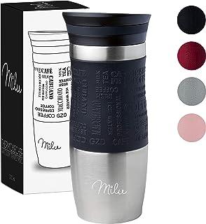 Milu Taza aislante de café y té para llevar - 370ml 100% a prueba de fugas - Taza de acero inoxidable para beber - vaso de aislamiento al vacío - Caliente y frío - Taza de viaje - Negro