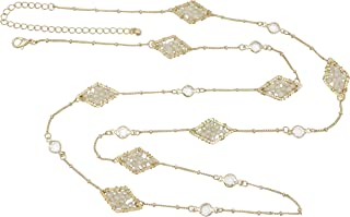 Long Simple Glass Bead Diamond Shaped Unique Simple Dainty Boutique Style Trendy Gold Tone Necklace