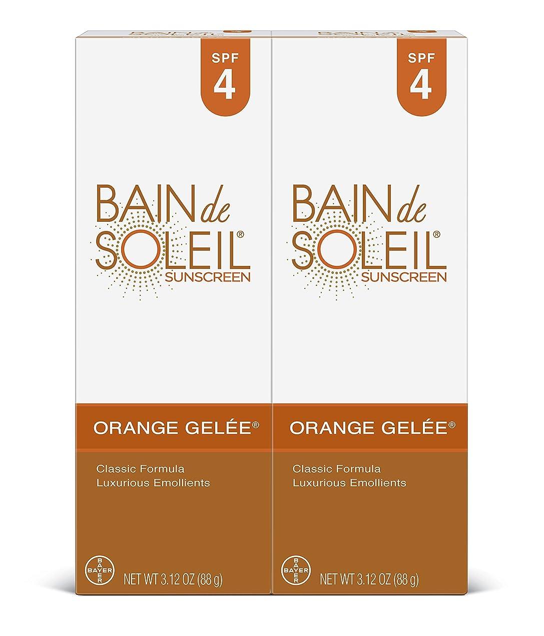 強調する辞任する裁判所Bain De Soleil オレンジジュレ日焼け止めSPF 4、豪華なエモリエントクラシック式、シグネチャー金属管で上品な香り、PABA無料、皮膚科医テスト済み(3.12オンスチューブ、2パック)