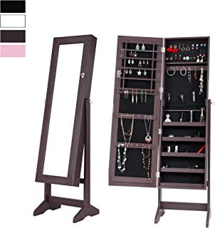 Cloud Mountain Mirrored Jewelry Cabinet Free Standing Lockable Jewelry Armoire Full Length Floor Tilting Jewelry Organizer with Mirror, 4 Angle Adjustable Organizer Storage, Brown