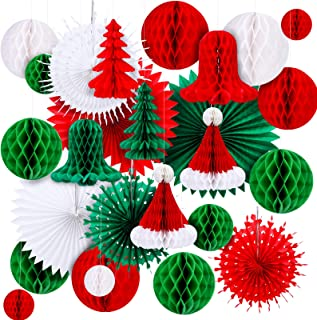 Konsait Christmas Party Decoration Paper Honeycomb Ball Bunting Paper Circle Confetti Garland Christmas Tree Snowflake Bel...