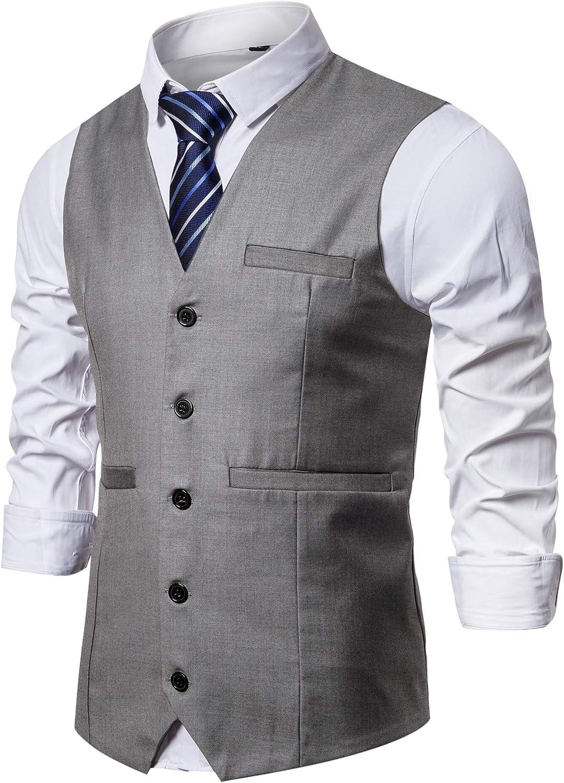 Men's Steampunk Vests, Waistcoats, Corsets DONGD Mens Formal Suit Vest Business Dress Vest for Suit or Tuxedo  AT vintagedancer.com
