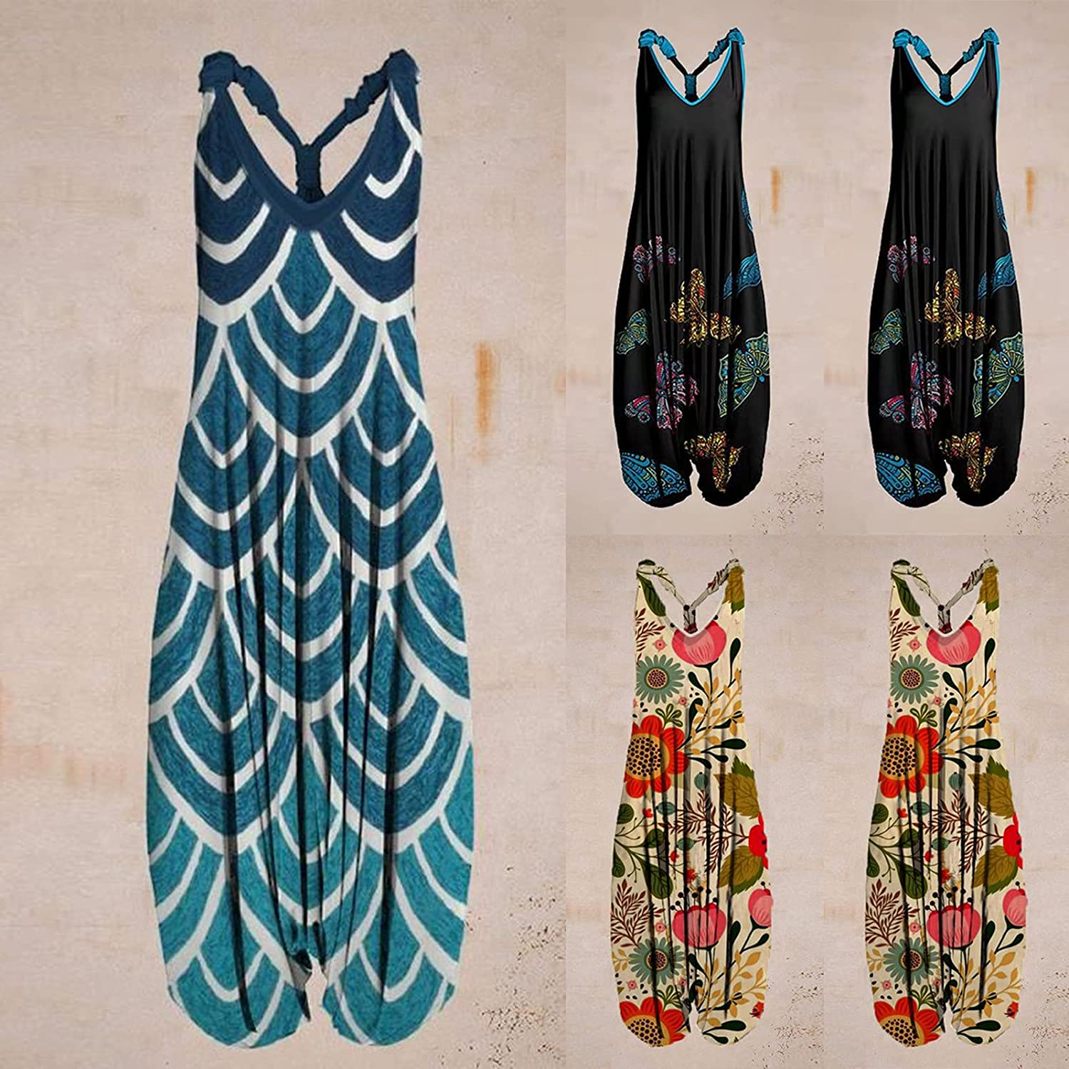 Afelkas Womens Floral Printed Jumpsuits Retro Casual Playsuit Sleeveless Loose Backless Romper One-Piece Harem Pants