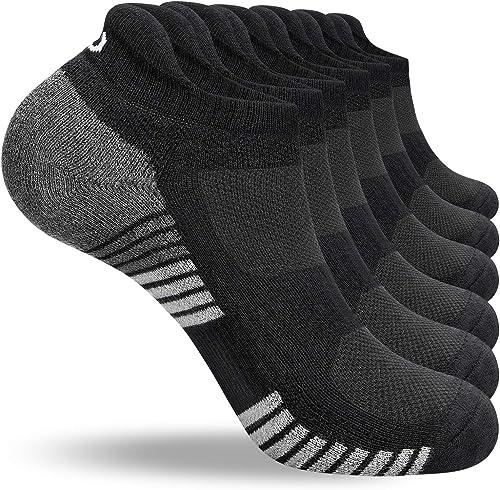 coskefy Running Socks Cushioned Sports Socks Ankle Socks Trainer Socks for Men Women Ladies Cotton Low Cut Athletic S...