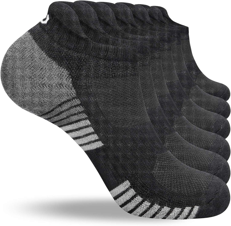 coskefy Running Socks Cushioned Sports Socks Ankle Socks Trainer Socks for Men Women Ladies Cotton Low Cut Athletic Socks (6 Pairs)