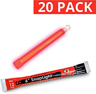 Cyalume SnapLight Red Light Sticks ? 6 Inch Industrial Grade High Intensity Glow Sticks with 12 Hour Duration (Pack of 20)
