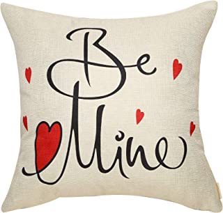 Fahrendom Rustic Farmhouse Valentine`s Day Sign Be Mine with Red Heart Cotton Linen Home Decorative Throw Pillow Case Cushion Cover with Words for Sofa Couch 18 x 18 in