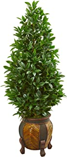 Nearly Natural 56-in. Bay Leaf Cone Topiary Artificial Decorative Planter Silk Trees, Green